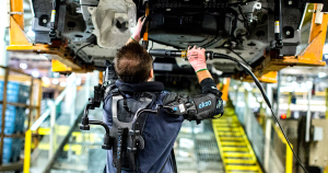 Assembly lines are increasingly automated, but for manufacturing at the OG of assembly lines, humans (with exoskeletons) are still behind the wheel.
