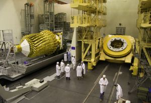 Russia's Spektr-R space telescope sitting in a bay before its launch
