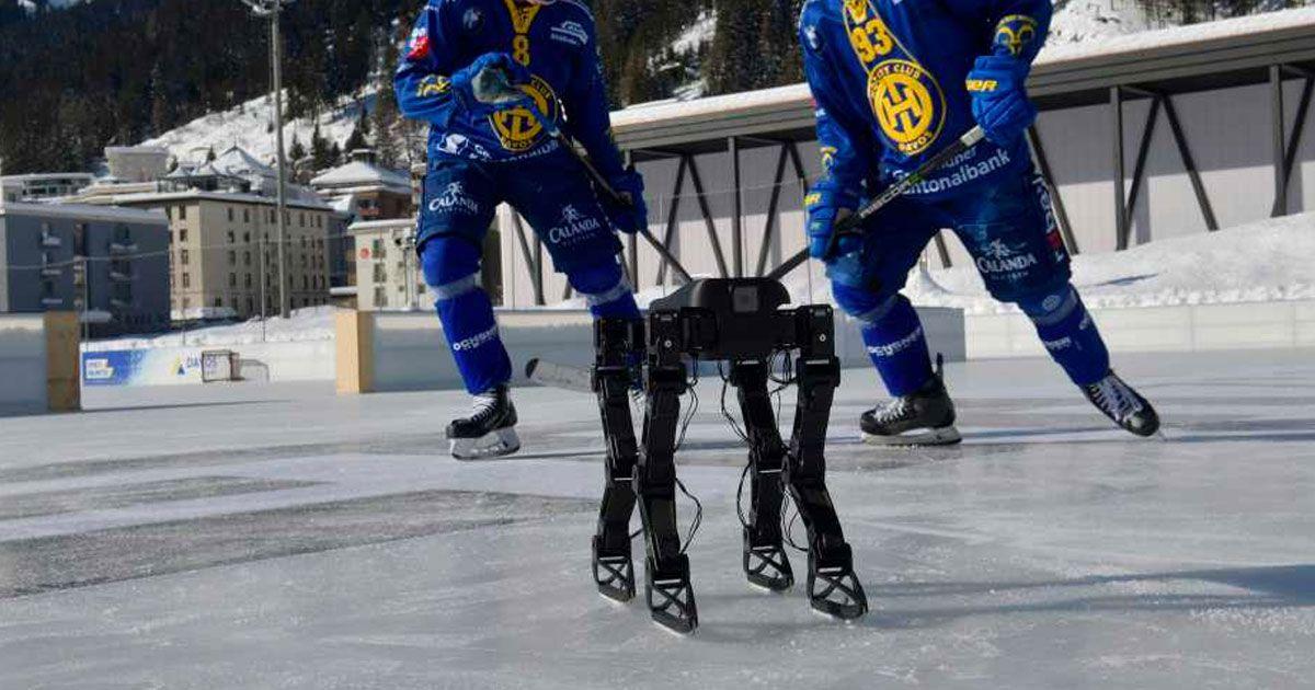 Watch an ice skating robot play hockey