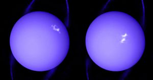 A newly released image taken by Hubble provides a stunning view of the massive storm currently covering the north pole of Uranus.
