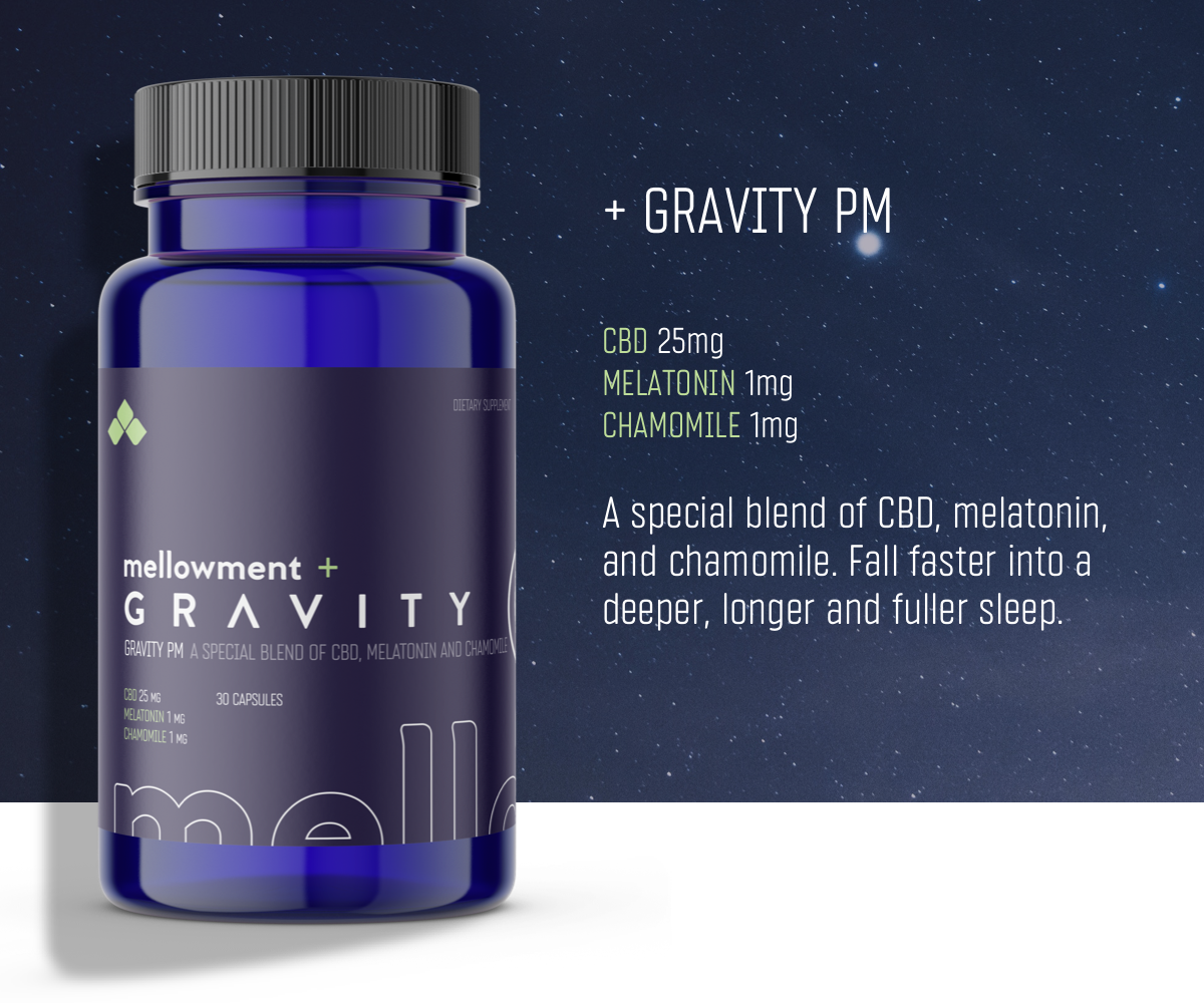 Mellowment Gravity PM CBD Sleep Supplement.