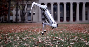 MIT's mini cheetah robot is the first four-legged bot to execute a perfect backflip — and watching it learn that skill is incredible entertaining.