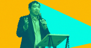 Andrew Yang envisioned as a hologram