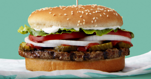 Burger King plans to test Impossible Whoppers, burgers containingplant-based patties created byImpossible Foods,in markets across the U.S.