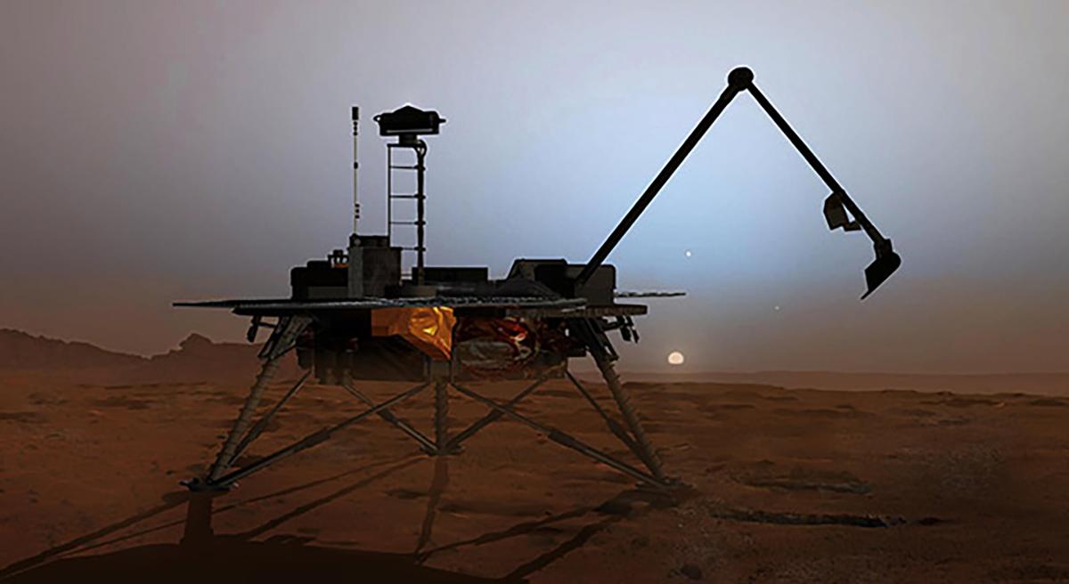 An asrtist's rendering of NASA's Phoenix lander flexing its robotic arm.