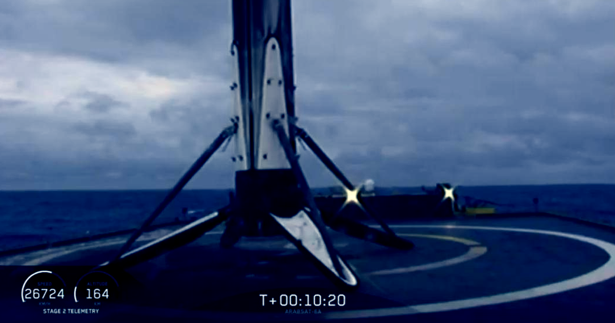 SpaceX Landed a Falcon Heavy Booster. Then It Fell Into the Sea.