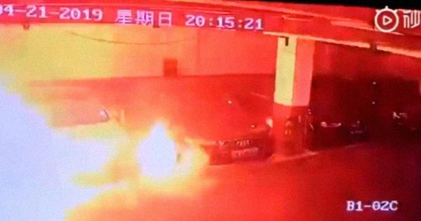Watch a Tesla Model S explode in a parking garage