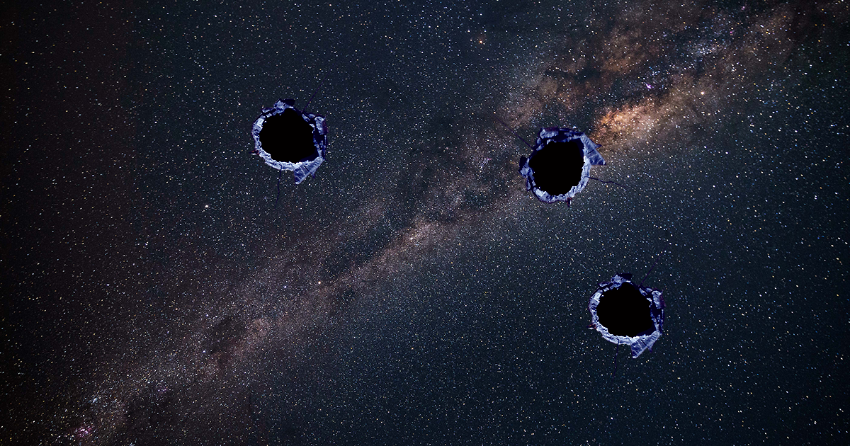 "A ""Dense Bullet of Something"" Blasted Holes in the Milky Way"