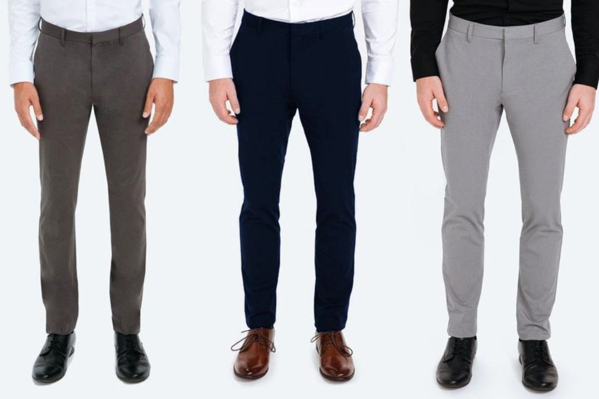 Pairs of kinetic, wrinkle free pants from Ministry of Supply.