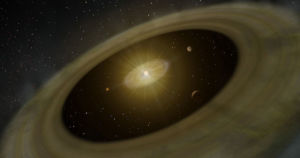A team of astronomers just saw for the first time a gas giant planet actively forming new moons out of a cloud of gas and dust.
