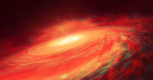 A distant black hole is surrounded by a much larger disk of spacestuff than scientists expected, giving them a rare glimpse of special relativity in action.