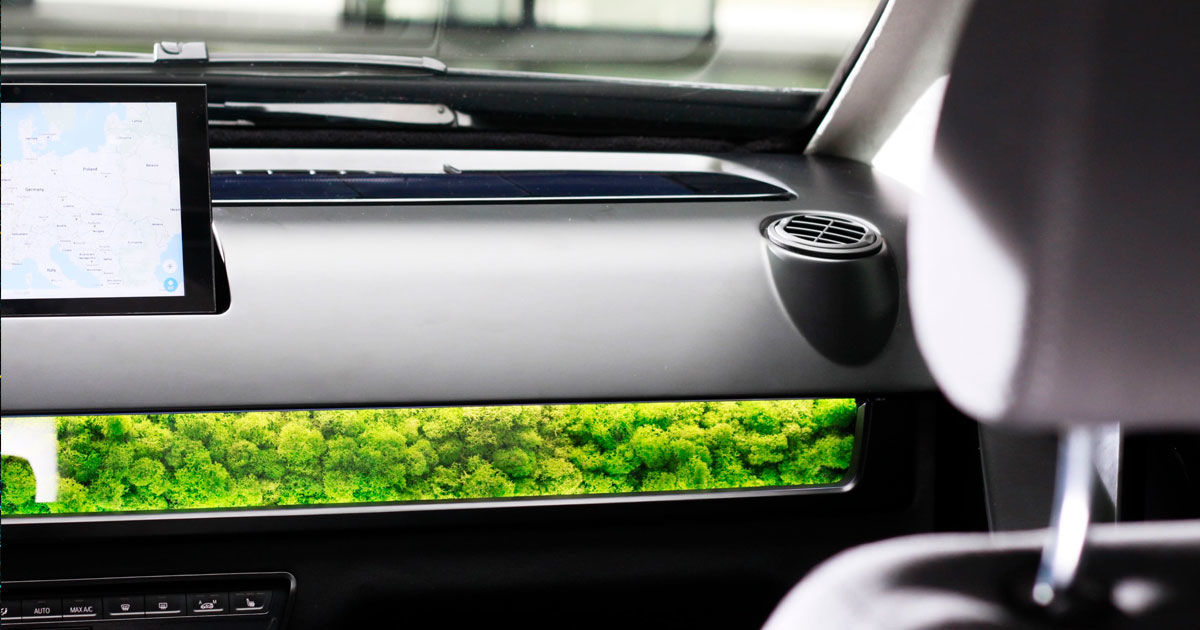 this electric car uses moss in the dashboard to filter air