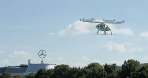 German flying car startup Volocopter just showed off its flying taxi as it was taking flight at Stuttgart's Mercedes-Benz Museum