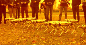 In a video uploaded by MIT's Biomimetics department, nine Mini Cheetah robots can be seen rustling up some autumn leaves and doing the occasional backflip.