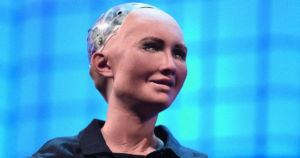 Asked whether it's ever been in love, Sophia the Robot told the crowd at the 2019 Web Summit that