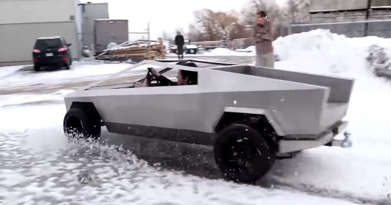 Watch This Adorable Mini Cybertruck Drift in the Snow