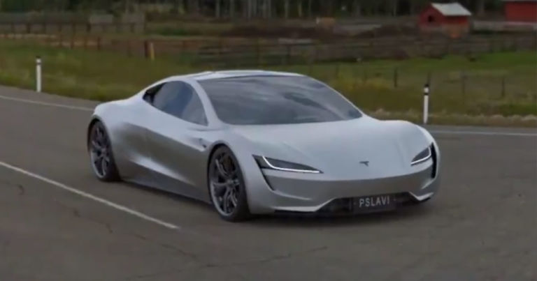 Simulation shows Tesla Roadster accelerating with SpaceX thrusters