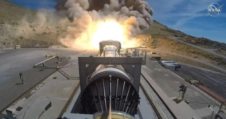 NASA tests rocket so huge it lights entire hillside on fire