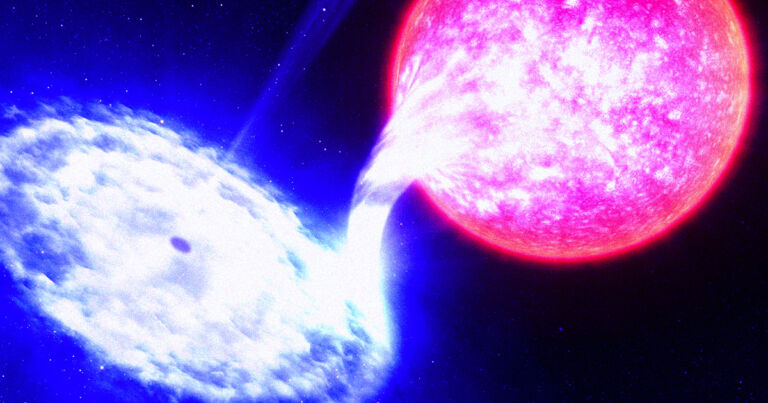 Black hole bites chunk out of orbiting star every 114 days