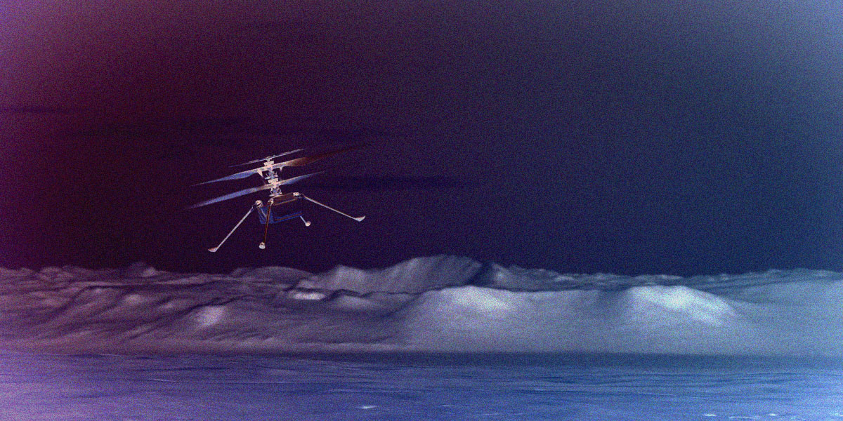 NASA Mars Helicopter Flies Super High, Spots Rover Way Down on Ground